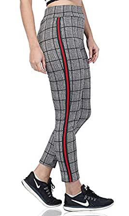 4a6bad7d9baca ... ICW Checks Red Green Side Stripe Ankle Length Women Girls Teenagers Leggings  Black