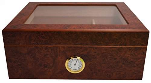 GERMANUS Humidor Desk I mit transparentem Deckel für ca. 50 Zigarren