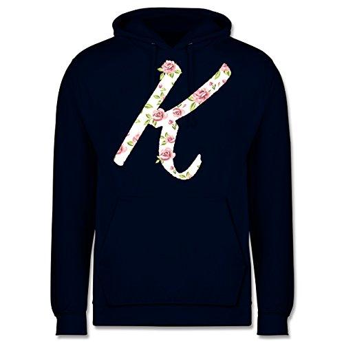 Anfangsbuchstaben - K Rosen - Männer Premium Kapuzenpullover / Hoodie Dunkelblau