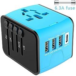 Adaptateur de Voyage Universel EXTSUD Chargeur de Voyage avec 3 Ports USB et Le Type C Prise Internationale avec Un Fusible de Rechange pour US, EU, UK, AU Plus de 170 Pays