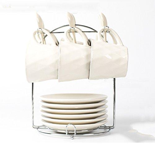 Ensemble de café en céramique créative / Accueil Coupe de café personnalisée avec cuillère / 6 Coupe 6 Disque 6 Ensemble de cuillère (7 couleurs en option) ( couleur : 7# )