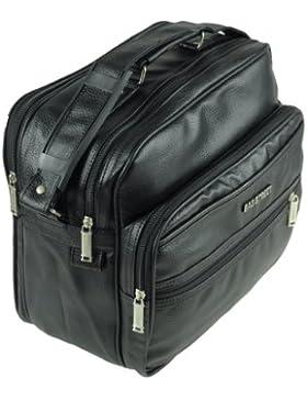 Stabile Arbeitstasche Flugumhänger Flugbegleiter Umhängetasche Messenger Bag schwarz Querformat
