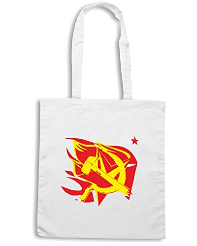 T-Shirtshock - Borsa Shopping TCO0013 hammer-and-sickle-on-the-flame-star-communism-symbol Bianco