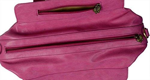 Butterflies Frauen Beiläufige Handtasche Designer Kunstleder Schultertasche Geldbeuteltotalisator Rosa