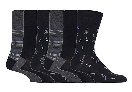 Gentle Grip - 6er pack herren comfort ohne gummi bund mittellang business bunt socken in 35 farben (MGG546 Musical Notes)