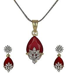 Zeneme American Diamond Gold Plated Pendant Set with Earring for Girls/Women