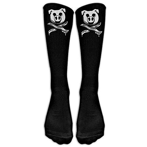 Mabaoyuheng Pig Bacon Cross Bones Pirate Unisex Crew Cotton Athletic Sock Running Socks Tube Socks ()