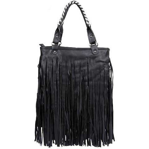 FreshGadgetz Bolso de piel negro con flecos para llevar al hombro estilo celebridad