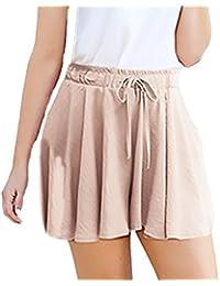 Shorts Donna Estivi Vita Alta Sciolto Pantaloni Corti Moda Puro Colore  Casual A Pieghe Linea Ad 723312eb706