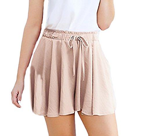 HX fashion Pantalones Cortos Mujer Verano Cintura Alta Anchos Shorts Tallas  Grandes Color Sólido Casual Especial dc9884c28fa0