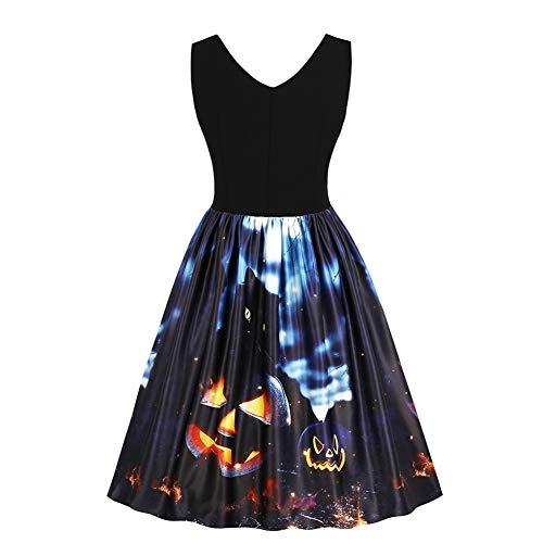 Vintage Halloween Theme Print V-Ausschnitt Ärmelloses High-Waist Midi Swing Kleid(L)