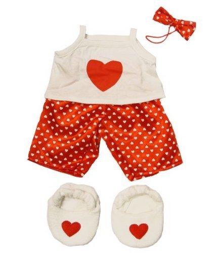 SATIN HEART PJYAMAS UND HAUSSCHUHE Teddybär Outfit / Bekleidung. Passend für 15