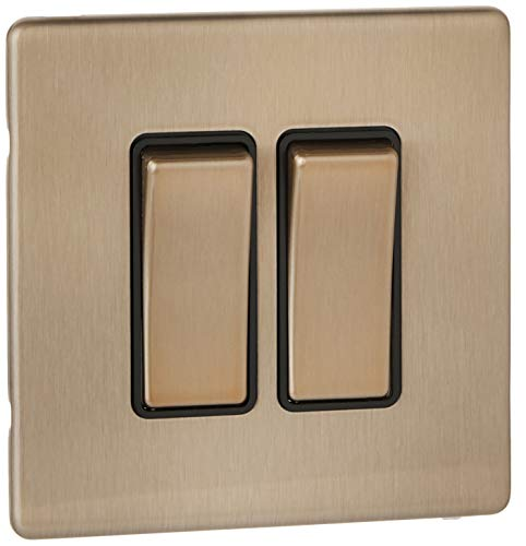 Rocker Switch Double Pole (MK Aspect k23472sagb 20Objektbereich eine Single Pole Schalter mit großen Rocker-Satin Gold)