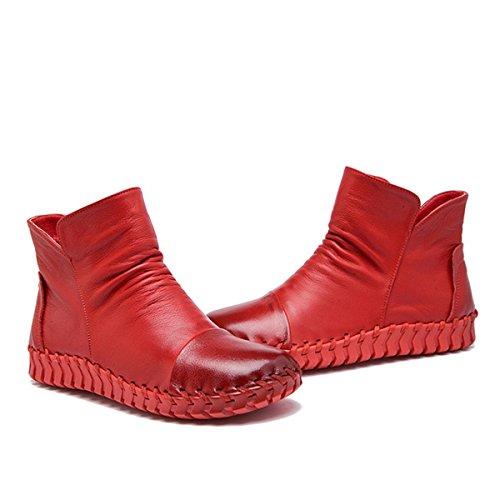 WJNKK New Womens Ladies Flat Zipper Stivaletti Alla Moda Retro Leisure Leisure Large Size 35-40 Red