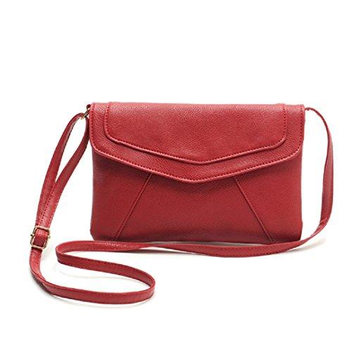 Damen Umhängetasche Kunstleder Handtasche Einstellbar Band Handbag wie Ein Umschlag - Ularmo (rot) (Handtasche Rote)