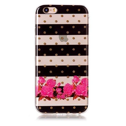 Per iPhone 6 / iPhone 6s Cover , YIGA Fiori a righe Cristallo Trasparente Silicone Morbido TPU Case Shell Caso Protezione Custodia per Apple iPhone 6 / iPhone 6s (4,7 pollici) XS69