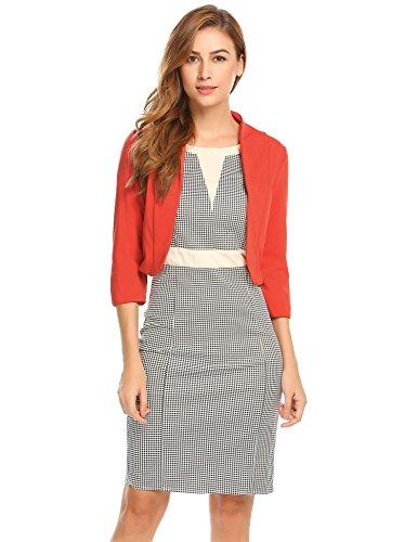 MEANEOR Damenjacke Elegant Mode Kragenlos kurzblazer Kurzjacke Bolero Jacke mit 3/4 Ärmel