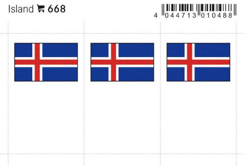 Lindner 668 Feuillet de drapeaux en couleur: Islande
