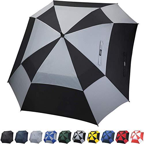 G4free ombrello da golf aperto automaticamente, a doppia baldacchino, ombrello quadrato, extra large, antivento, per uomini e donne (nero/grigio)