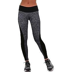 MORCHAN ❤ Femmes Pantalons de Sport Gym athlétisme séance d'entraînement Fitness Yoga Leggings Pantalons Jeans Combinaisons Pantalon Court Collants Knickerbockers(S,Gris)