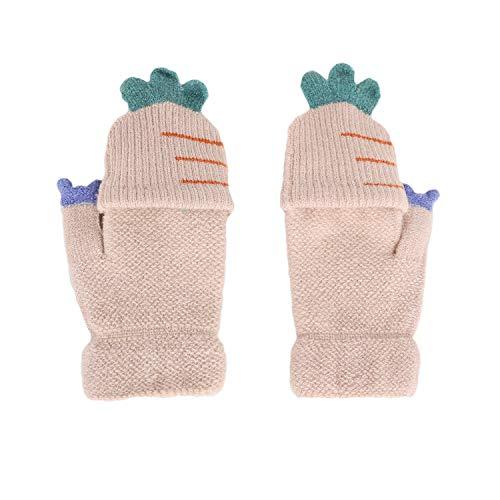 Kinder Halbfinger Handschuhe Fingerlose Fäustlinge Warm Mehrfarbige Strickhandschuhe Fingerhandschuhe mit Flip Top Mädchen Jungen Herbst Winter Bedarf (Beige) | 06941667770483