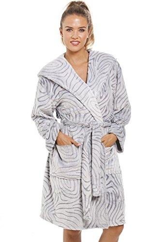 Camille - Robe de chambre à capuche pour femme - polaire douce - motif zèbre - gris 40/42