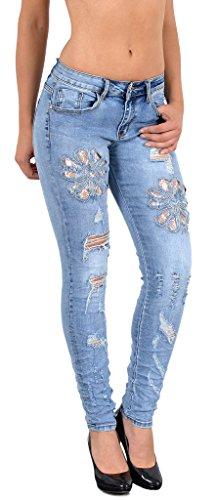 by-tex Damen Röhrenjeans Damen Jeans Röhre Damen Jeanshose Skinny Damenjeans mit Spitze und Blumenstickerei J53