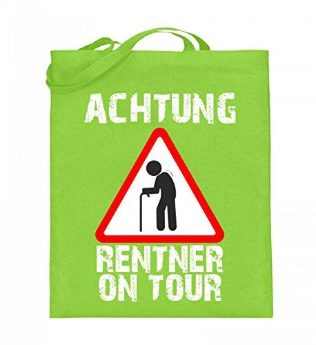 Hochwertiger Jutebeutel (mit langen Henkeln) - Achtung Rentner on Tour Limette