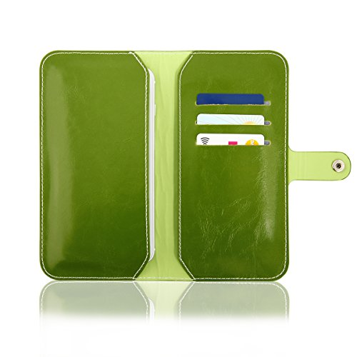EGO® Étui wallet Case pour téléphone Étui de protection universel en simili cuir Pochette Portable avec Compartiments Carte Compartiment à billets boutons pression, Cuir synthétique, noir, für iPhone  Vert