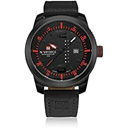 NAVIFORCE Genuine Leather Strap Men's Classic Auto Day Analogue Quartz Waterproof Sports Watch (Black/Red)