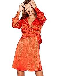 Red Herring Womens Leopard Print Long Sleeve V-Neck Mini Dress Orange b87a96ddb