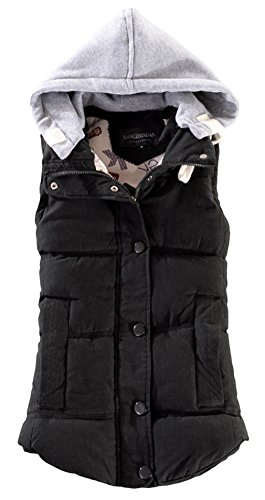La Vogue Manteau Sans Manche Gilet Hiver Chaud à Capuche Noir