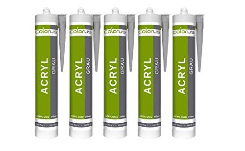 5 x Colorus Profi Maleracryl grau 310ml Fugendichtmasse Bauacryl Acryl Dichtmasse Dichtstoff
