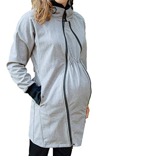 manduca by MaM Tragemantel > Softshell Light Coat HeatherGrey < Tragejacke (Langjacke/Kurzmantel), Umstandsmantel, 2x Babyeinsatz, komplett gefüttert (Fleece), auch für Rückentragen (grau, L) 4in 1 Parka