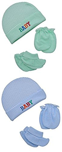 "Baby Bucket ""BABY"" Premium Quality Light Weight Regular Fit Hosiery Material Stretchable Baby Cap"", Mitten & Booties set (Green & Blue)"
