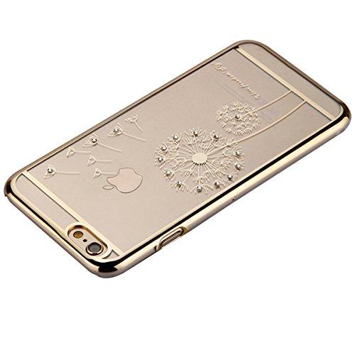 Cover iPhone 6S,Cover iPhone 6, ikasus® iPhone 6S / 6 Case Custodia Cover [Cristallo Trasparente] Protettiva trasparente con motivo floreale farfalla che scorre copertura dura di plastica trasparente  dente di leone:doro