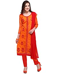 Rajnandini Women's Chanderi Cotton Embroidered Dress Material(JOPLGF18016_Orange_Free Size)