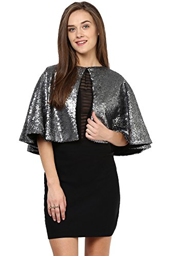 Miss Chase Women's Cape Top (MCAW15TP02-70-32_Silver _Large )