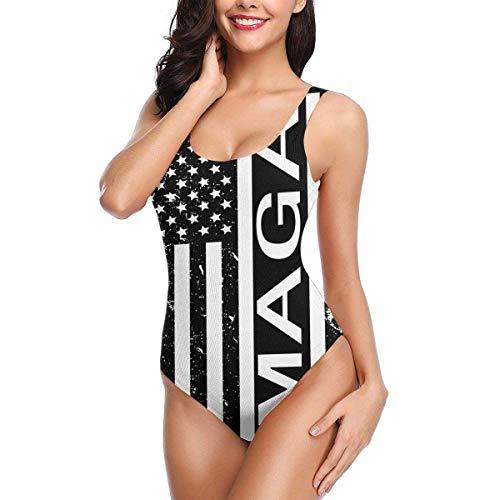 Vintage American Flag MAGA Women's Cute One Piece Swimsuit Sexy Swimwear Fashion Bathing Suits (Ihr Körper American Girl)