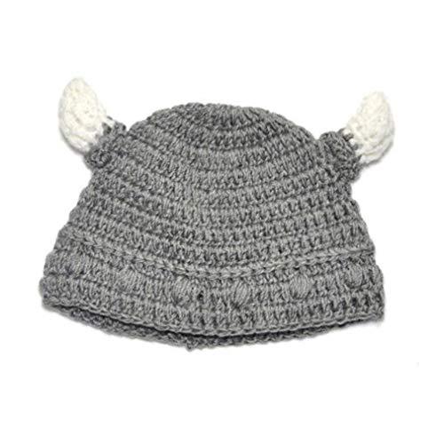 Culer Baby Bull Horn Mütze Handmade Knitting Viking-Hut-Rind-Horn-Kappe für Jungen-Mädchen - Baby Wikinger Kostüm