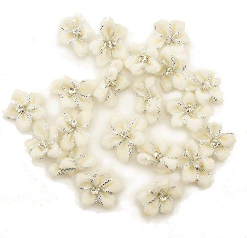 HAND White Velvet Flower Trim mit Diamante und Silber Metallic Edging 23mm - 20 Stück -