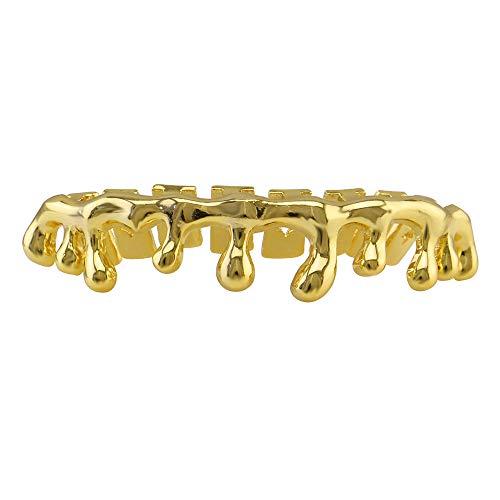 Morph33 Herren Luxuriöse Vergoldete Große Tropfenförmige Zahnspange Gold Zähne Hip Hop Kreative Persönlichkeit gefälschte Körperteile (Farbe : Gold)