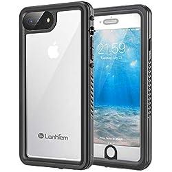 Lanhiem Coque Étanche iPhone 7 Plus, [IP68 Imperméable] [Antichoc] Full Body avec Protection écran intégré Antipoussière Anti-Neige Waterproof Etui pour iPhone 8 Plus, Noir