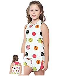 Night Suit for Girls - White Color - Cotton Material - Printed Top and Shorts Set - Sleeveless Top - Available for 8/10/12/14 Year Old Girls - Casual wear for Kids