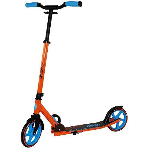 Best Sporting Unisex- Erwachsene Scooter 205er, City-Roller aus Aluminium mit ergonomischen Griffen und gebogener Lenkstange, Tretroller in orange/blau