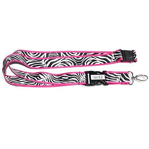Weiß Zebra mit schwarzen Streifen und rosa Rand Animal Print Safari Wild Serie Auto Truck SUV ID Ticket und Schlüssel Kette Halterung Clip auf Kordel, von la Auto Gear