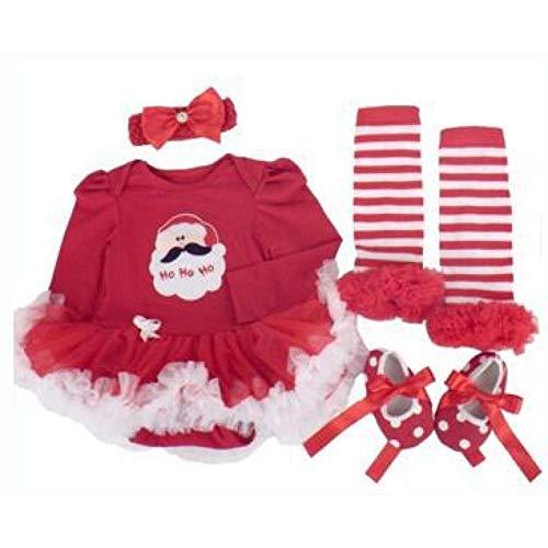 SPFAZJ Weihnachten Baby Kleidung 0-2, altes weibliches Baby Lange Ärmel Hardy Kleid Vier 2er Set