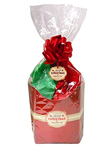 Pop-Up Box Geschenk-Set mit Seidenpapier, Cello Tasche, Ziehen Schleife und Geschenkanhänger, Rot Merry Christmas