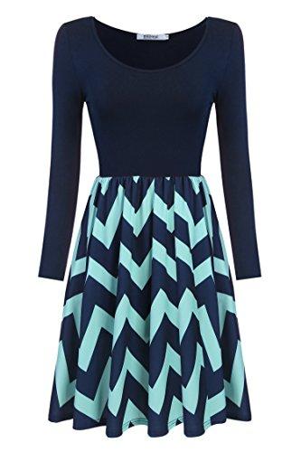 Meaneor Damen Skaterkleid Basic Kleid A-Linie Kleid Mit Gestreift Rock O-Ausschnitt Stretch Blau+Y1