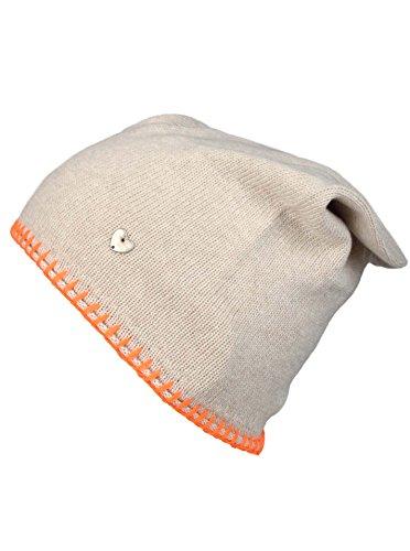 Cashmere Dreams Slouch-Beanie-Mütze mit Kaschmir - Hochwertige Strickmütze für Damen Mädchen - Herz - Heckel-Rand - One Size - warm und weich im Sommer Herbst und Winter Zwillingsherz (bei/ora) - Gestrickte Mütze Baumwolle Aus